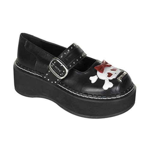 2 Inch Trendy Gothic Shoes Platform Black Pu Mary Jane Shoe With Bow And Skull