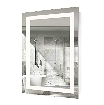 Krugg LED Bathroom Mirror 24 Inch X 36 Inch | Lighted Vanity Mirror Includes Defogger & Dimmer| Wall Mount Vertical or Horizontal