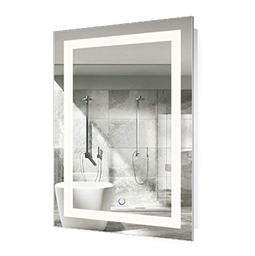 Krugg LED Bathroom Mirror 24 Inch X 36 Inch | Lighted Vanity Mirror Includes Defogger & Dimmer| Wall Mount Vertical or Horizontal ()