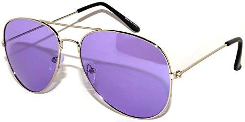 Fasion Aviator Sunglasses Purple Gradient Lens Silver Metal Frame - Aviators Purple