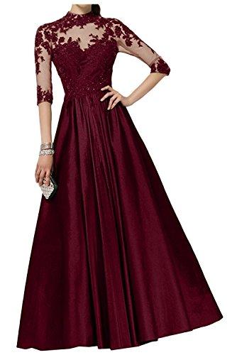 Brautmutterkleider Ballkleider mit A Langarm Braut Weinrot Partykleider Abendkleider Regency Linie mia Lang Spitze La 1Z0wFHqF