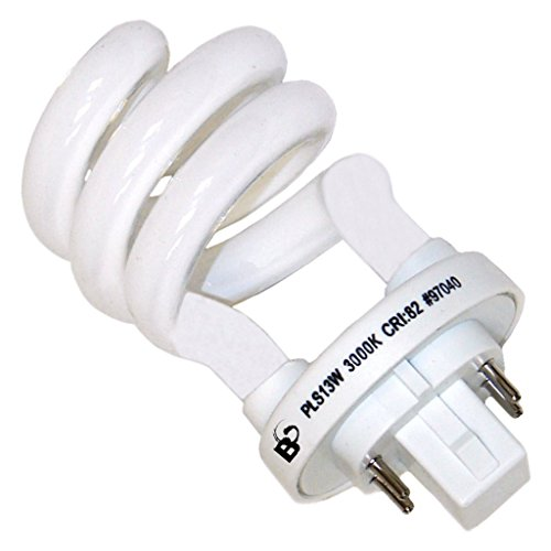 Bright Lighting 97040 PLS13-13W Spiral Compact Fluorescent Light Bulb CFL, Bright White, 3000K, 13-Watts, 4-Pin Plug-In G24Q-1 Base