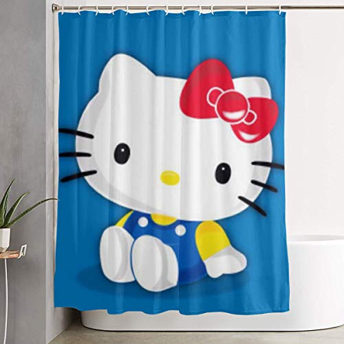 LYULIAN Cute Hello Kitty with Hook Stylish Shower Curtain Printing Waterproof Bathroom Curtain 60 X 72 Inches