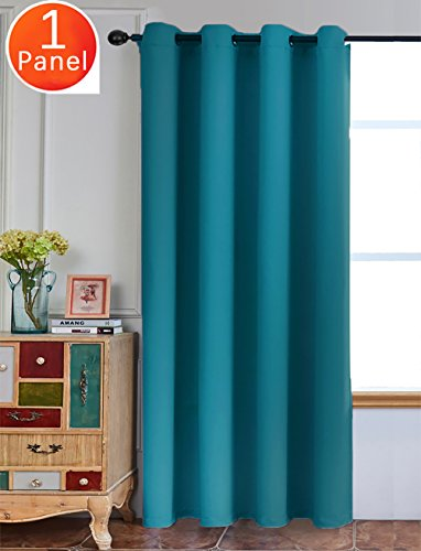 Sleep Well Blackout Room Darkening Grommet Curtain (Teal Color) 1 Panel, 52 inch wide by 84 inch long each panel, 8 Grommets and 1 Tie Back included - by Yakamok
