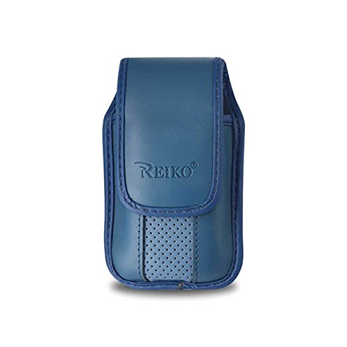 (Blue Leather Vertical Pinch Clip case with Magnetic snap fits Cingular Flip 2)
