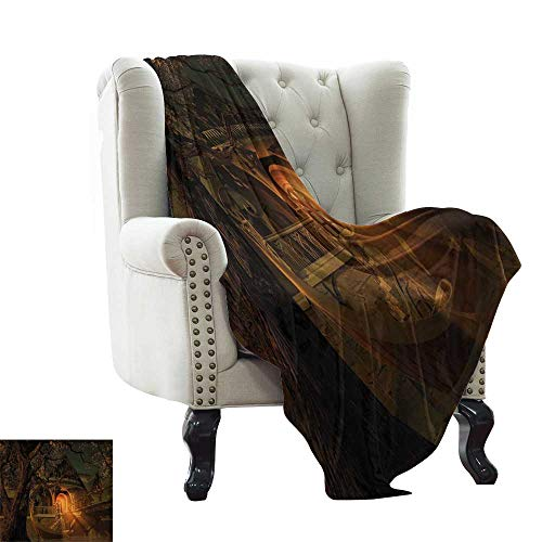 Custom Blanket Fantasy,Enchanted View with Elven Boat Floral Tree Fairytale Night Design,Cinnamon Brown Sage Green Super Soft Light Weight Cozy Warm Plush Hypoallergenic 50