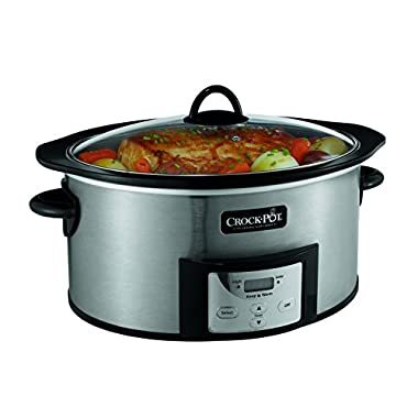 Crock-Pot 6-Quart Countdown Slow Cooker with Stovetop-Safe Cooking Pot, Stainless Steel, SCCPVI600-S
