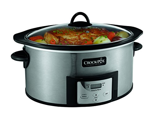 Crock-Pot 6-Quart Countdown Programmable Oval Slow Cooker with Stove-Top Browning, Stainless Finish