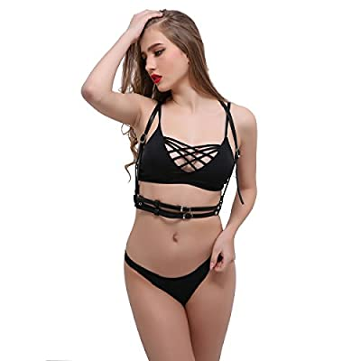 NE Norboe Women's Stylish Leather Body Harness Simple Design Harness Bra Sexy Cage Bra