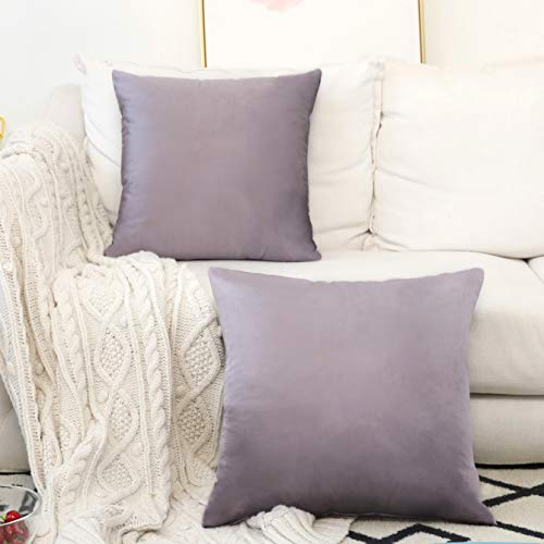 Home Brilliant 2 Pack Velvet Cushion Covers Decorative Pillowcases Throw Pillowcase Covers for Bench Couch Bed, 18x18 inches(45x45cm), Lilac (Plum Shams Pillow)