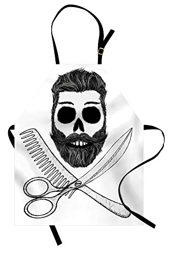 Price comparison product image Indie Apron by Ambesonne, Hipster Skull with Hairstyle Beard and Mustache Comb and Scissors Creepy Retro, Unisex Kitchen Bib Apron with Adjustable Neck for Cooking Baking Gardening, Black Pale Grey