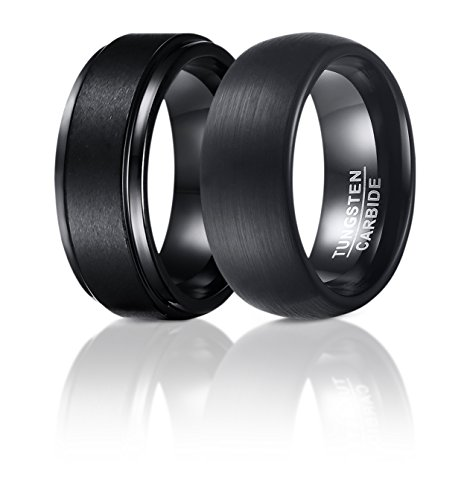 SOL Rings - Set Of 2 - 8mm Black Tungsten Carbide Wedding Rings For Men, 1 Matte Center and Step Edge Band and 1 Enamel Domed Round Brushed Band, Comfort Fit, Size 10