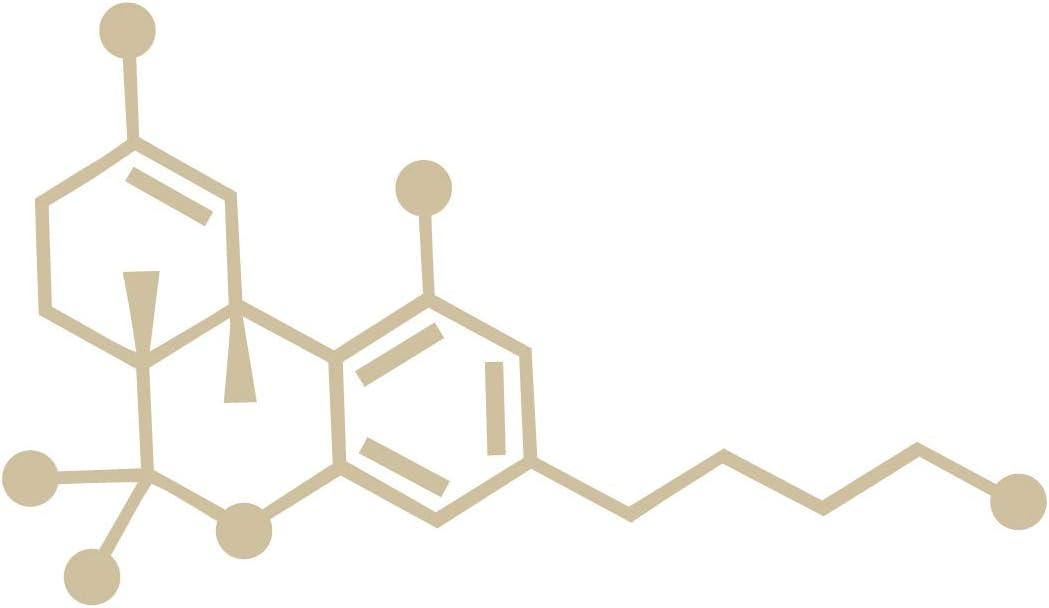Applicable Pun THC - Tetrahydrocannabinol Cannabis - Chemical Compound Skeletal Formula - Vinyl Decal - Beige 4 Inches Wide