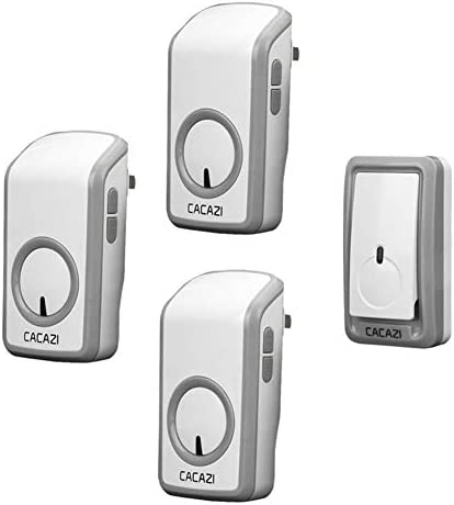 ウォールプラグインコードレスドアチャイム、ポータブルウォータープルーフ電気ドアベルキット、1148フィートの範囲で48トーン6ボリュームレベル1プッシュボタンと3レシーバー
