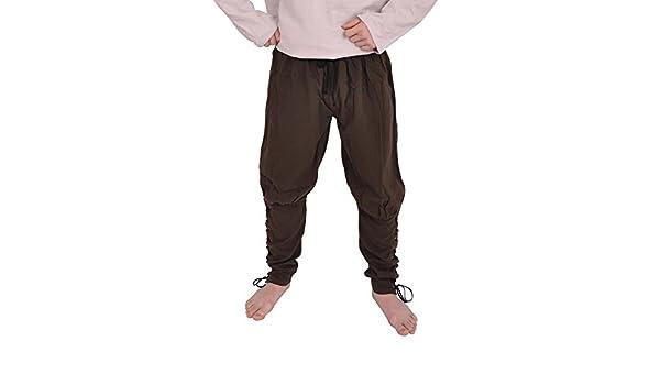 5600566665 pantalones medievales de Viking de color marrón oscuro