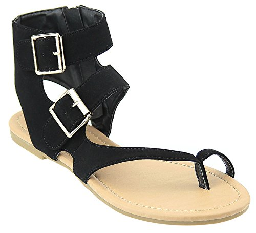 New Womens Strappy Roman Gladiator Sandals Flats T Strap Thongs Shoes (9, BlackHoldr) (Shoes Roman Sandals)