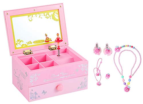 WODISON Square Shape Design 1 Pullout Drawers Ballerina Musical Jewelry Storage Box Set with Accessory ()