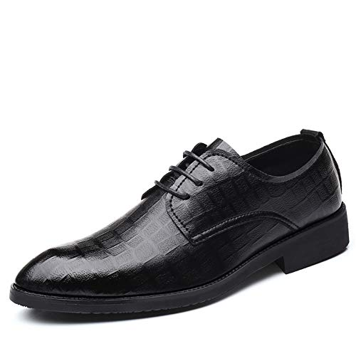 Eu 44 Top Da Business color Pattern Low Classic Dimensione Grid Uomo Chic Nero Nero Resistente Shoes Dadijier Casual Oxford All'abrasione Formal HUfwqvq4