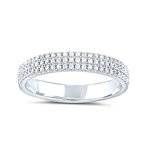 Sterling Silver Simulated Diamond Eternity Ring - Size 7 by SilverCloseOut