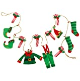 Elf's Clothes and Candy Cane Christmas Tree, Wreath, Mantle Garland, 6 Feet Long