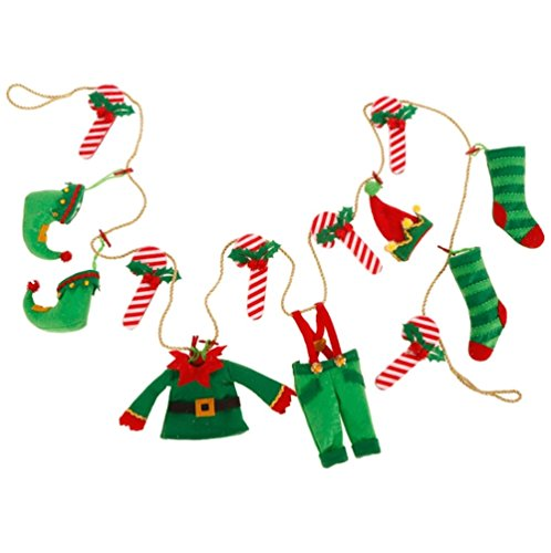 Elf's Clothes and Candy Cane Christmas Tree, Wreath, Mantle Garland, 6 Feet Long by Raz