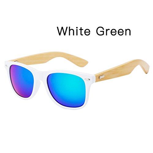 hommes bois lunettes avec Green bambou femmes étui soleil lunettes White lunettes de Haoling Rétro de en unisexe soleil qB5W4EzUwx