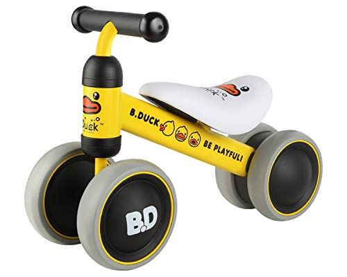 - POCO DIVO B.Duck Baby Balance Bike Toddler Walker Children no-Pedal Bicycle Steel Frame Kids 4-Wheel Ride-on Toy - Yellow