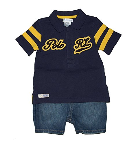 Ralph Lauren Baby Boys' 2-Piece Striped Polo & Denim Shorts Set French Navy (6M)