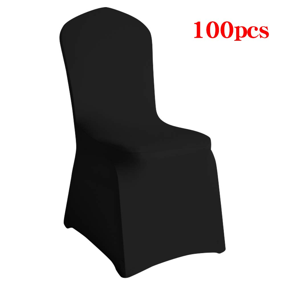 Desirable Life 1/10/20/50/100pcs Universal Spandex Stretch Banquet Wedding Party Dining Chair Covers (Black/Flat Front, 100)