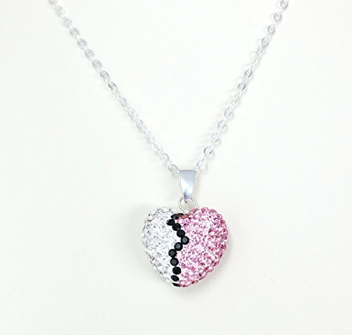 Sterling Silver Pink, White, and Black Preciosa Glass Rhinestone Puffed Heart Necklace -