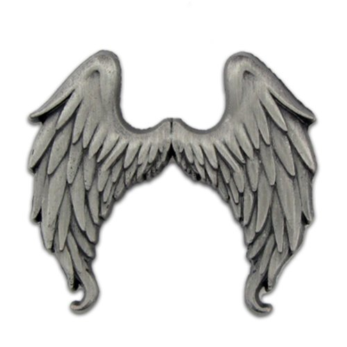 PinMart's Antique Silver Flying Angel Wings Lapel (Flying Angel Pin)