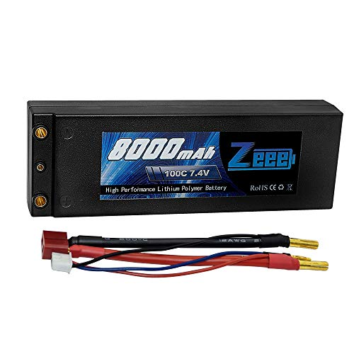 Zeee 2s Lipo Battery 7.4V 100C 8000mAh Hard Case Lipo Batteries Pack with 4mm Bullet Dean-Style T Plug for 1/8 1/10 RC Car Model Traxxas Slash Buggy Team Associated (Lipo Battery Style)