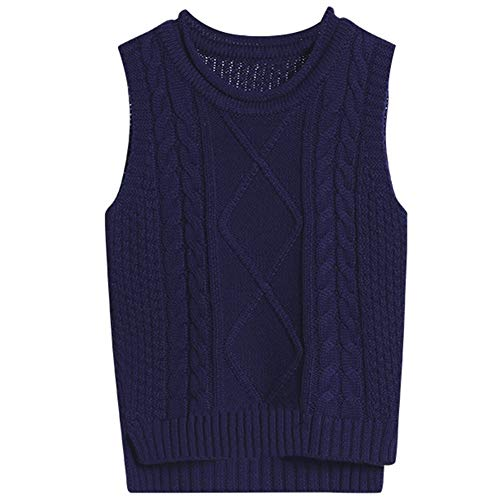 Goodkids Baby Sweater Vest School Uniforms Knitted Pullover Sweaters Cable Argyle Patterns Boys Girls (Navy 90)