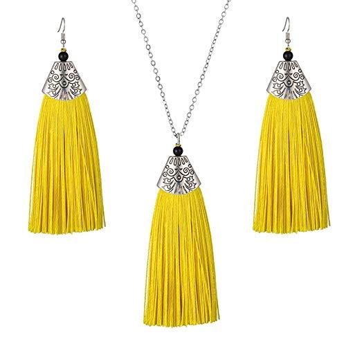 Tuoke-peri Bohemian Handmade Tassel Earrings Necklace Statement Antique Jewelry Sets Long Adjustable Chain (Yellow)