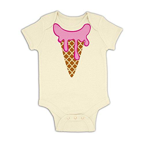 Ice Cream Head (Strawberry) Baby Grow - Natural 3-6 (Ice Cream Dress Up)