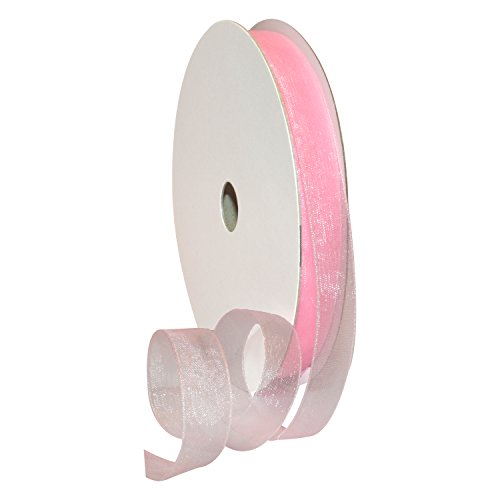 (Morex Ribbon 91803/100-020 Organdy Nylon Ribbon, 5/8-Inch by 100-Yard, Light Pink)