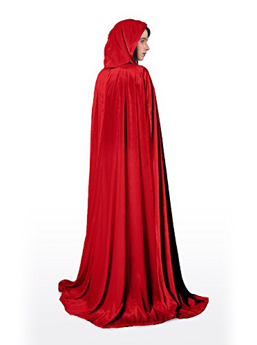 Little Adventures Full Length Deluxe Velvet Cloak/Cape With Lined Hood For Adults - Red