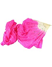 Poity New Colorful Belly Dance Bamboo Long Silk Fans Veils 4 Colors Hand Made Silk Fan