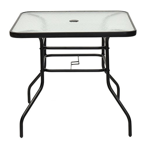 Tangkula Table Outdoor Garden Glass Top All Weather Table