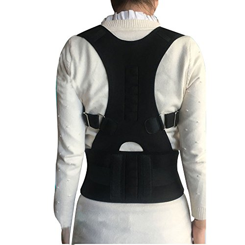 Magnetic Therapy Posture Support Back Brace -FDA Approved Medical Grade Adjustable Posture Corrector Brace Shoulder Back Support Belt- Relieves Neck, Back and Spine Pain