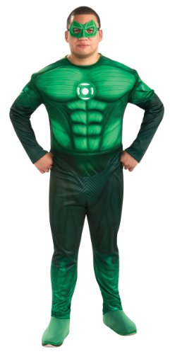 Green Lantern Deluxe Full Figure Hal Jordan Costume With Muscle Chest, Green, One Size