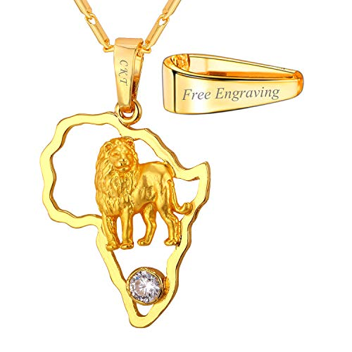 - U7 Africa Map Pendant with Lion 18K Gold Plated Flat Chain Women Men Necklace (18K Gold Plated (with Customization Service))