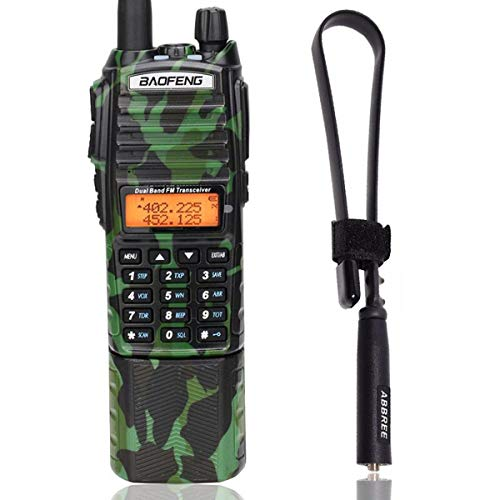 BaoFeng UV-82 Plus Tri-Power 8W/4W/1W 3800mAh DC Connector Battery 2-PTT VHF UHF Dual Band Army Tactical Amateur (Ham) Two Way Radio + Tactical Antenna