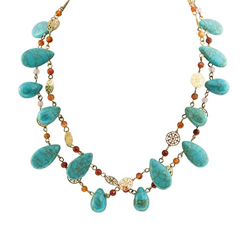 (Womens Jewelry Genuine Turquoise and Carnelian Double Srand Bib Necklace Gold Tone Plating 16 Inches Long)