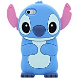 Leosimp Blue Stitch Case for iPhone 5 SE 5C 5S Cute 3D Cartoon Animal Cover,Kids Girls Boys Fun Cell Phone Cases Soft Silicone Gel Rubber Kawaii Character Protector Vivid Color Skin Cases for iPhone5