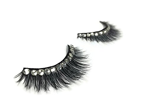 Vegas Halloween (Joey Quan | 100% Mink Fur and Crystal 3D Handmade False Eyelash Extensions - 1 Set, Lash Vegas Halloween, Wedding Reuseable Korean Eyelashes)