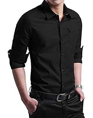 FRTCV Men's Button Down Shirt Causal Cotton Long Sleeve Dress Shirts