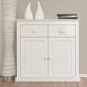 Nicea Select White Solid Pine Wood Sideboard With 2 Doors And Drawers Living Room Furniture