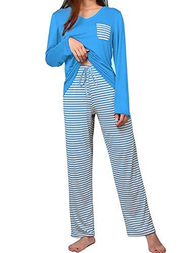 wishpower Women's Cute Striped Long Sleeve Tee and Pants Pajama Set Lake Blue L