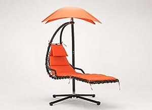 mcombo colgar Chaise tumbona silla Arc soporte aire porche Swing hamaca silla paraguas, color naranja